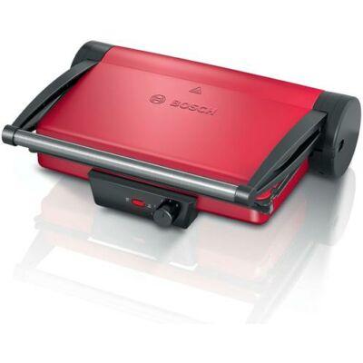 Bosch TCG4104, Kontaktgrill - 2000 W - fokozatmentes szabályozás - kivehető grill-lapok - kivehető zsírgyűjtő tálca - kontaktgrill-, asztali grill- és gratin funkció - piros/antracit