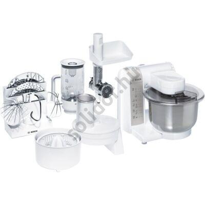 Bosch MUM4856EU konyhai robotgép 600W 3,9L fehér fémtál citrusprés húsdaráló üveg mixer szeletelő készlet