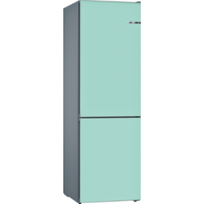 Bosch KVN39IT3A VarioStyle NoFrost Halványkék színű ajtóborítással alulfagyasztós hűtő A++ 203x60x66cm